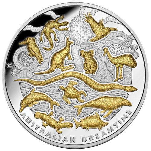 Niue - Dreamtime Silber 5 oz vergoldet PP 2019