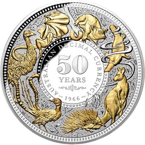 Niue - 50 Jahre Dezimalwährung Silber 5 oz vergoldet PP