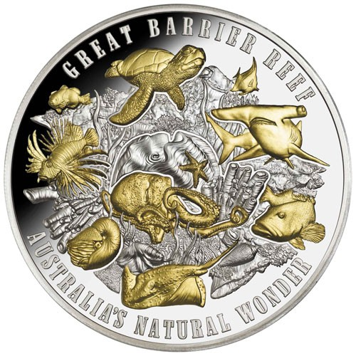 Niue - Great Barrier Reef Silber 5 oz vergoldet PP