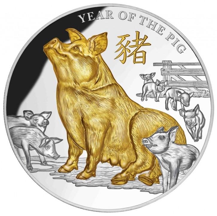 Niue - Jahr des Schweines 2019 - 5 oz Silber vergoldet