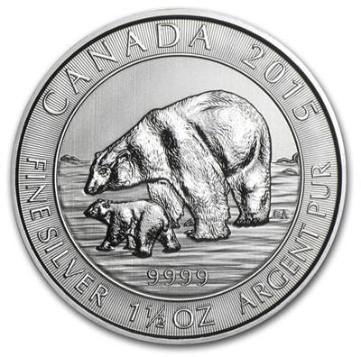 Kanada Polarbär mit Jungem Silber 1,5 oz 2015