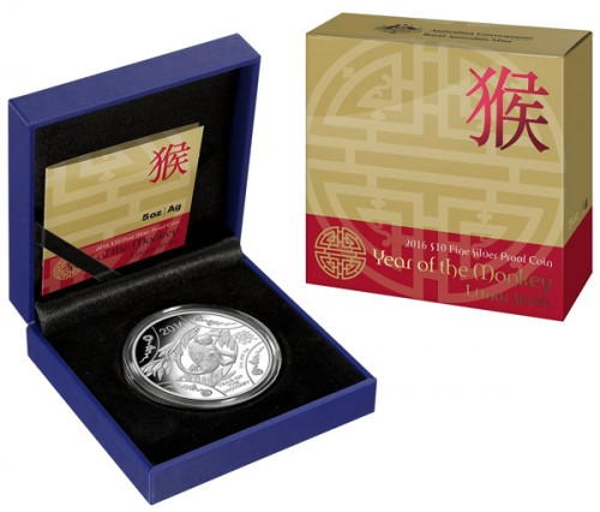RAM Lunar Affe 2016 Silber 5 oz polierte Platte