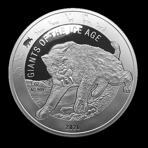 Ghana - Giganten der Eiszeit - Säbelzahnkatze 1 oz Silber 2020
