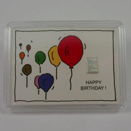 Silberbarren Valcambi 1 g - Geburtstag - Ballons