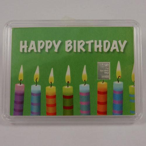 Silberbarren Valcambi 1 g - Geburtstag - Kerzen