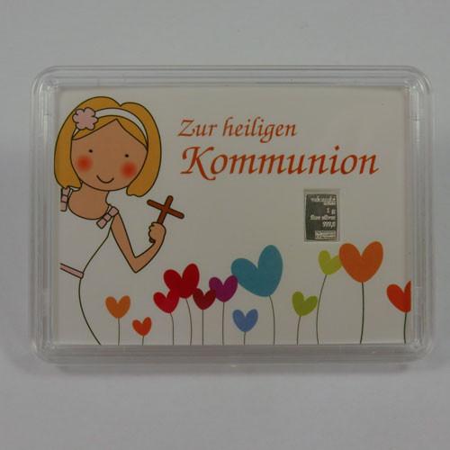 Silberbarren Valcambi 1 g - Kommunion - Mädchen