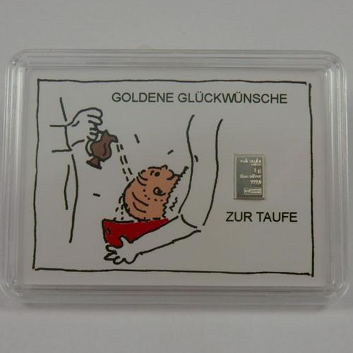 Silberbarren Valcambi 1 g - Taufe - Zur Taufe