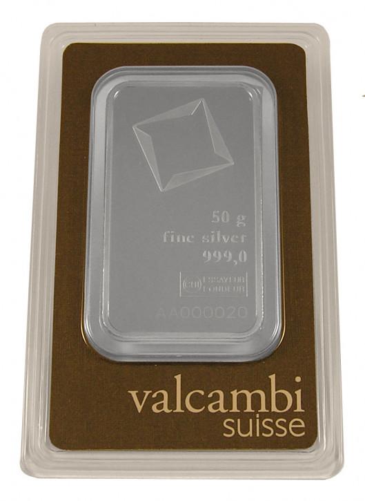 Silberbarren Valcambi 50 g