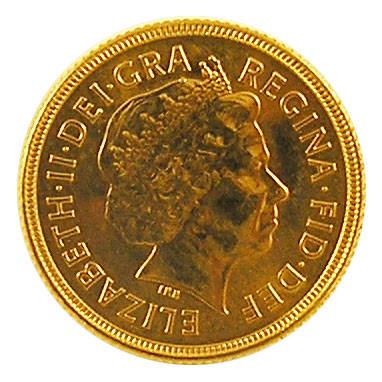Sovereign 1 Pfund Elisabeth II Krone im Haar alt