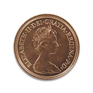 Sovereign 1 Pfund Elisabeth II Krone im Haar jung
