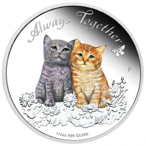 Tuvalu - Always Together - Katzenbabies - 2015 Silber 1/2 oz PP