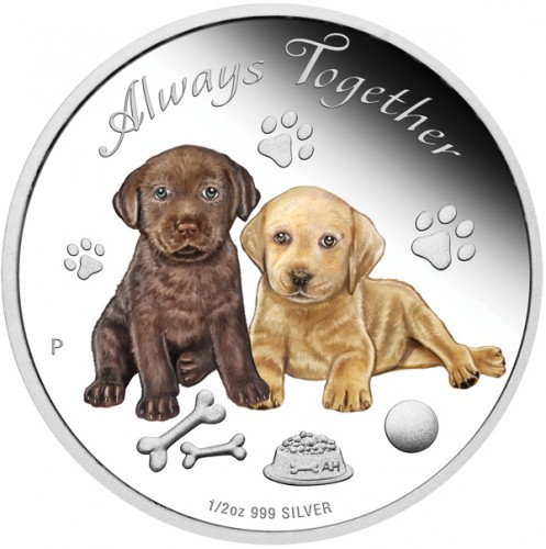 Tuvalu - Always Together - Hundewelpen - 2016 Silber 1/2 oz PP