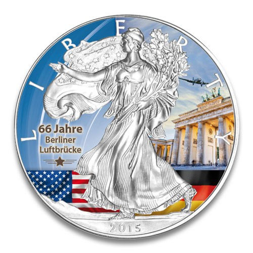 American Eagle 2015 Brandenburger Tor Silber coloriert 1 oz