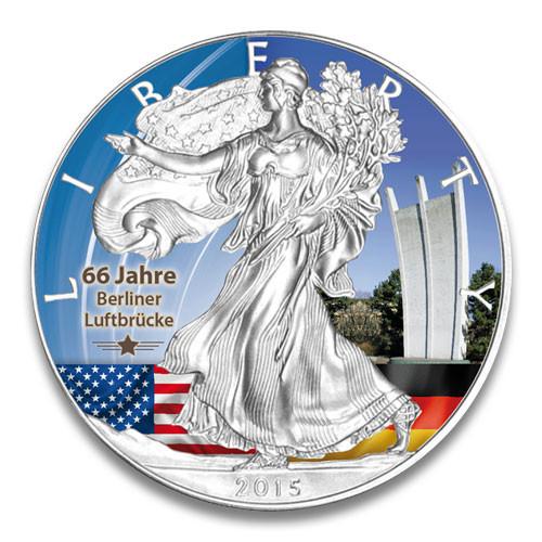 American Eagle 2015 Denkmal Luftbrücke Silber coloriert 1 oz