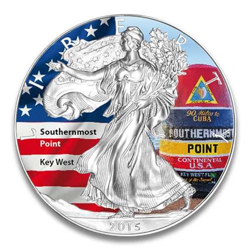 American Eagle 2015 Southernmost Point Silber coloriert 1 oz