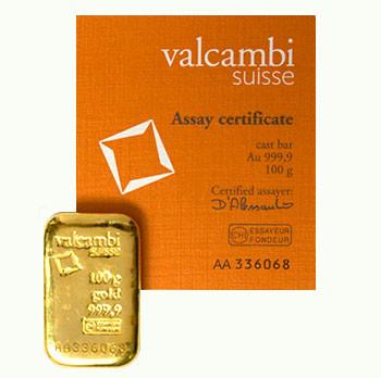 Goldbarren Valcambi gegossen 100 g
