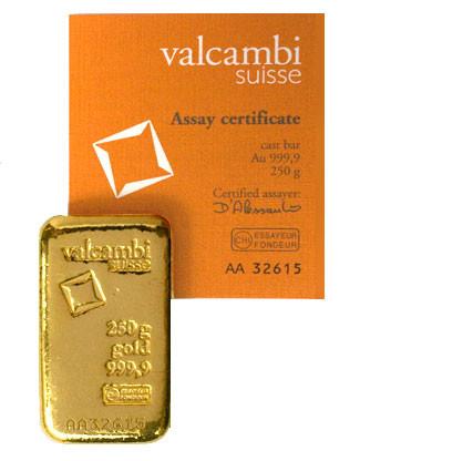 Goldbarren Valcambi gegossen 250g