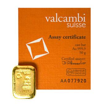 Goldbarren Valcambi gegossen 50 g