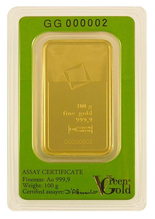 Goldbarren Valcambi Green Gold 100 g