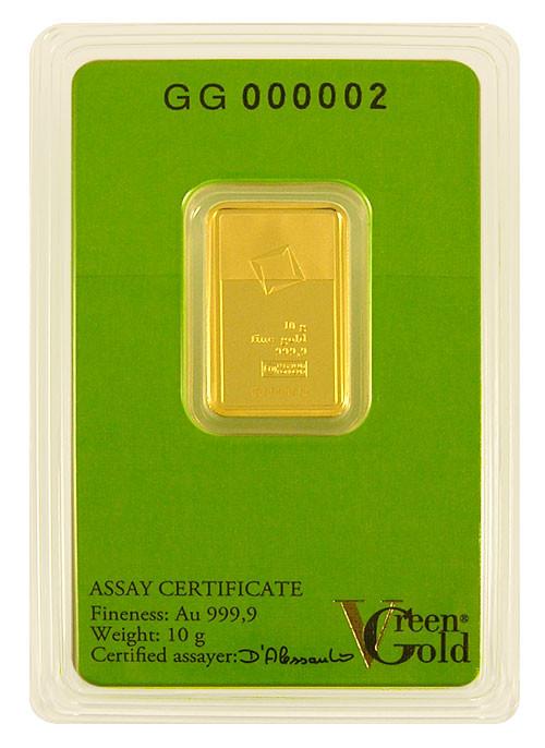 Goldbarren Valcambi Green Gold 10 g