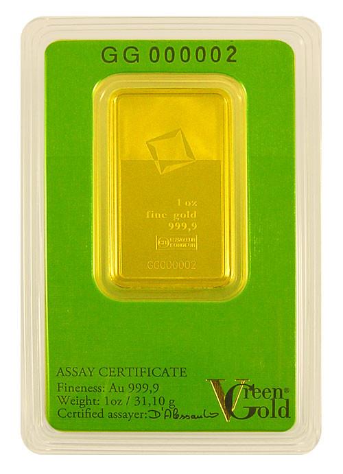 Goldbarren Valcambi Green Gold 1 oz