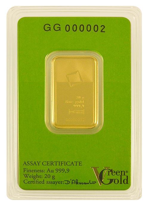 Goldbarren Valcambi Green Gold 20 g
