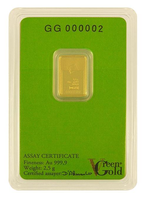 Goldbarren Valcambi Green Gold 2,5 g