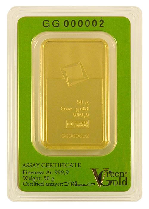 Goldbarren Valcambi Green Gold 50 g