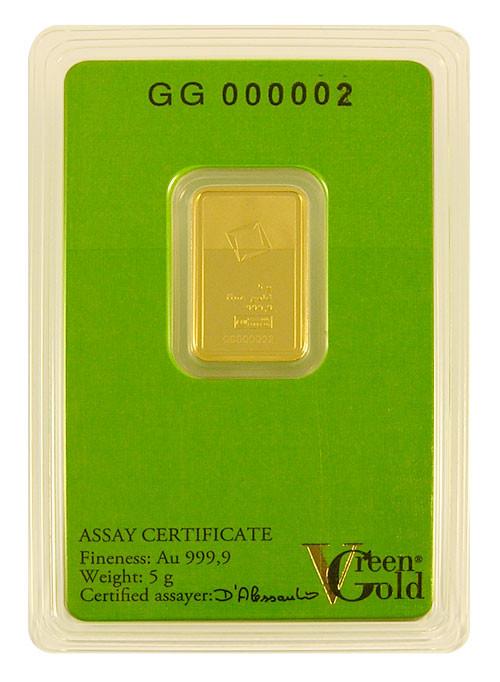Goldbarren Valcambi Green Gold 5 g