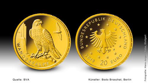 20 Euro Heimische Vögel - Wanderfalke 2019 Prägestätte A 1/8 oz