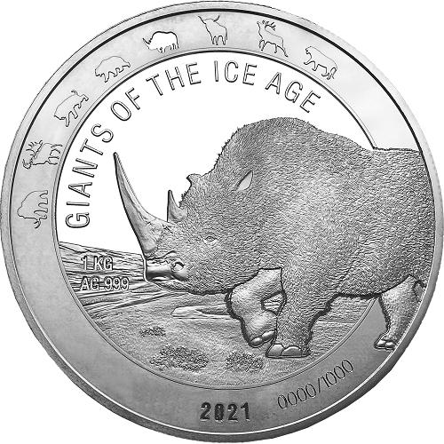 Ghana - Giganten der Eiszeit - Wollnashorn 1 kg Silber 2021