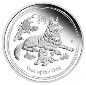 Lunar II Hund 2018 Silber Set 1/2, 1 und 2 oz polierte Platte